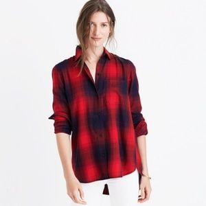 Madewell Ex-Boyfriend Plaid Shirt Red Black S